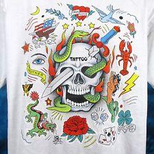 NOS vintage 80s TATTOO SKULL ART T-Shirt L/XL cartoon dragon mermaid biker thin