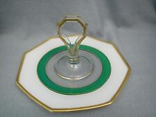 Mid Century GREEN WHITE GOLD SATURN RING Octagon Tidbit Serving Tray Mid Century