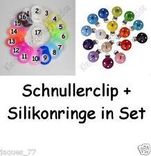 5 Schnullerclip + 5 Silikonringe n. Wahl Schnullerkettenclip, Holzclip, Babyclip
