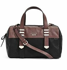 NEW GUESS BLACK WESTERN WILD COLORBLOCK BOX SATCHEL BAG PURSE