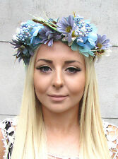 Turquoise Blue Grey Berry Floral Hair Crown Flower Headband Garland Wreath 1347