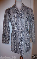 NWT WILSONS PELLE STUDIO SNAKE SKIN PYTHON Printed Gray Leather Jacket Sz Small