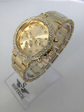 Gold Tone Diamante Ladies Women Fashion Bracelet Softech Quartz Wrist Watch