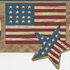 Americana Patriotic USA Flag, Stars & Hearts - ONLY $9 - Wallpaper Border A137