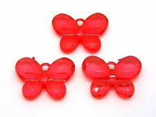 3 Pcs - Large  34mm Red Faceted Butterfly Pendant Kids Craft Jewellery  B161
