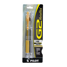 Pilot G2 Metallics Retractable Gel Ink Pens, Fine, Gold & Silver Ink, Pack of 2