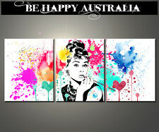 AUDREY HEPBURN ABSTRACT ON STRETCHED CANVAS SET OF 3 PRINTS EACH 30cmx40cmx2cm