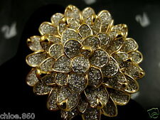 SIGNED SWAROVSKI CRYSTAL CHRYSANTHEMUM FLOWER PIN ~BROOCH RETIRED RARE  NWT