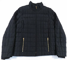 J. CREW BLACK GOLD FULL ZIP QUILTED DOWN FILLED PUFFER JACKET COAT WOMENS M EUC