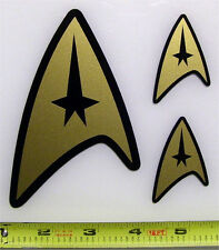 Star Trek - Command Badge 3 Set HQ 2 Color Gold on Black Vinyl Sticker Decals