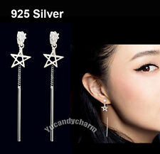 Made in Korea Sterling Silver Gem Star Flash Back Drop Bar Earrings Studs SET