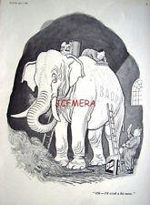 """1965 Punch H Wilson B.A.O.R. White Elephant Cartoon Print - """"Scrub a Bit More"""""""