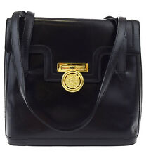 Authentic CELINE PARIS Logos Shoulder Bag Leather Black Gold Italy 04W868