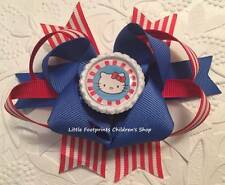 """Red White Blue Patriotic Hello Kitty Bottle Cap Hair Bow 4 1/2"""""""