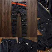 MENS pants biker DENIM Fashion ZIPPER SKINNY Fit Distressed ripped jean