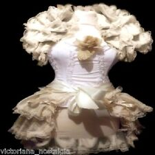 TAFFETA TIE ON VICTORIAN BRIDAL GOTH BUSTLE SKIRT CREAM IVORY BLACK BURGUNDY