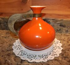 VINTAGE RED WING 565 ORANGE PITCHER WITH BROWN WOODEN HANDLE