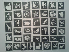 50 x girls themed stencil (mixed) for glitter tattoos / airbrush / face painting