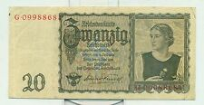 OLD GERMAN REICHSBANKNOTE 20 MARK 1939