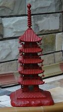 "ANTIQUE JAPANESE WOOD CARVED RED LACQUERED CINNABAR PAGODA TOWER LAMP 24""H"