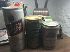 Three Vintage Beer Cans Budweiser Pony Pabst Light Schlitz Pounder