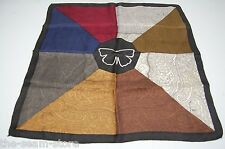 "8 in 1 Silk Pocket Square 19"" Red Blue Brown Gray Paisley Print Butterfly Black"