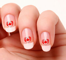 20 Nail Art Decals Transfers Stickers #721 - Canadian Flag Heart Canada