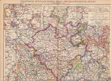 Westfalen Hessen-Nassau Hessen LANDKARTE von 1905 Rheinland Waldeck Lippe