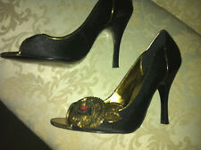 WOMENS LADIES GIRLS HIGH HEEL OPEN TOE SHOES SIZE 4 BLACK GOLD PARTY cost £45