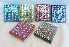 Indian Beaded & Mirrored Small Note Book / Notepad with Hand Made Paper - BNIB