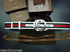 Authentic GUCCI Belt Green Red Web White leather trim interlocking GGWAIST:32-34