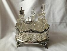 Vintage Silver Plated Holder With 5 Glass Pots Table Set With Spoon