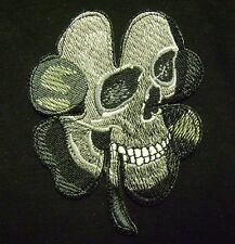"HUGE PIRATE DEATH SKULL CELTIC CLOVER IRISH BIKER VEST IRON ON BACK PATCH 9"" USA"