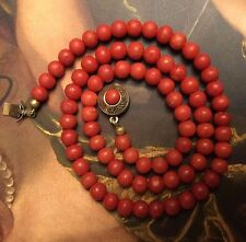 "Antique VICTORIAN Undyed RED CORAL Beads NECKLACE 17.25"" Long 21 g Weight"