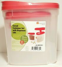 Plastic 3 Piece Cereal Dispenser Dry Food Storage Container Organizer BPA Free