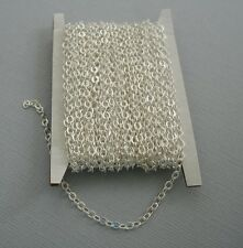 15ft Spool Silver Plated Brass Flat Cable Chain 2x2.5mm.