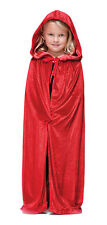 GIRLS KIDS BOYS RED HOODED CAPE CLOAK HALLOWEEN VAMPIRE FANCY DRESS COSTUME NEW