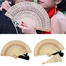 Chinese Japanese Folding Fan Original Wooden Hand Flower Bamboo Asia