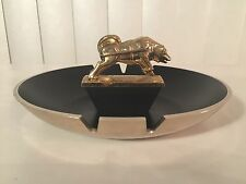 Vtg 50s Large Brockway Huskie Gold Black Ashtray Truck Hood Ornament Advertising