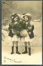 NJ193 ART DECO FILLETTES JUMELLES TWIN ? SISTERS GIRLS HAT FUR MUFF PHOTO d'ART