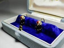 ART DÉCO 1920 14K GOLD BLACKAMOOR ENAMEL EARRINGS ANTIKE MOOR OHRRINGE AS102