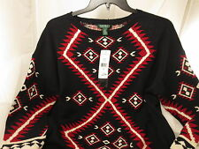 NWT Ralph Lauren RLL Southwest Navajo 3/4 sleeve Tunic Sweater Black Multi 1X