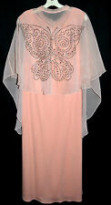 Vintage Lily Lynn Peach Long Dress with Sheer Glitter Butterfly Cape Sz M USA