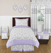 SWEET JOJO DESIGNS LAVENDER GRAY WHITE DAMASK GIRL KID TEEN TWIN BED BEDDING SET