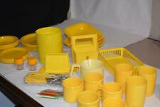 Lot Yellow Plastic Modern PICNIC Table Accessories Party Summer Camping DISHES