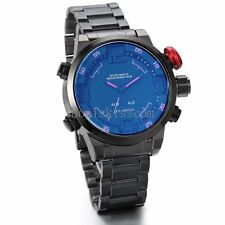 Fashion LED Digital Date Sports Analog Quartz Stainless Steel Men's Wrist Watch