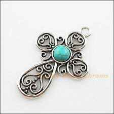 1Pc Retro Tibetan Silver Turquoise Cross Flower Charms Pendants 31x47.5mm