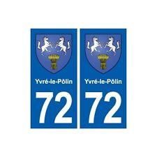72 Yvré-le-Pôlin blason autocollant plaque stickers ville arrondis