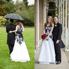 2015 Sleeveless Chiffon Black White Wedding Dress Bridal Gown Custom Size 2 4 6+