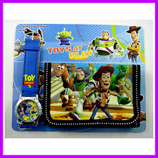 NEWEST Toy Story Buzz & Woody Kids Boys Child Wrist Watch and Purse Wallet SET